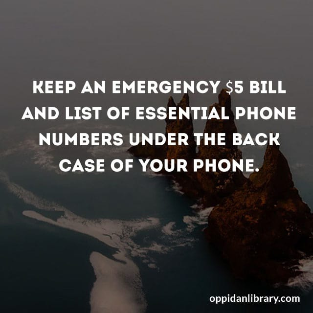 KEEP AN EMERGENCY $5 BILL AND LIST OF ESSENTIAL PHONE NUMBERS UNDER THE BACK CASE OF YOUR PHONE.