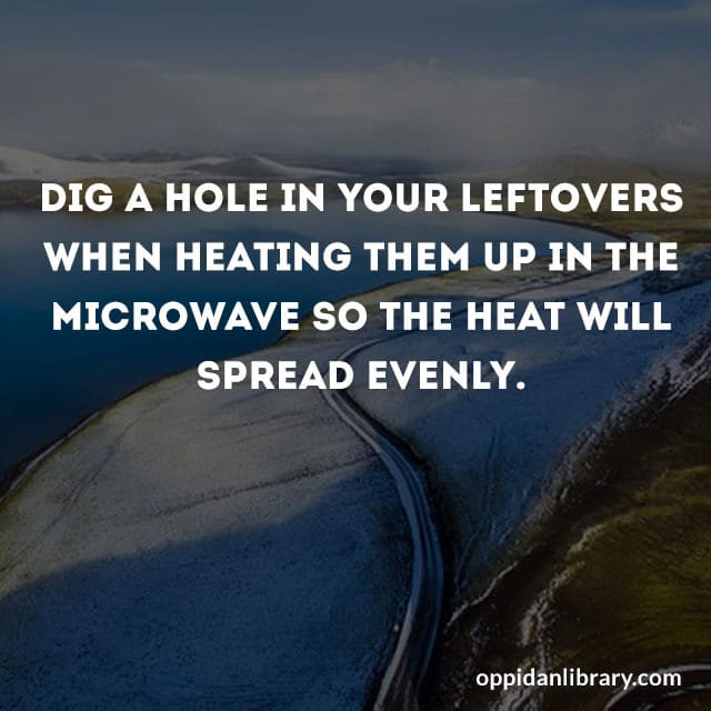 DIG A HOLE IN YOUR LEFTOVERS WHEN HEATING THEM UP IN THE MICROWAVE SO THE HEAT WILL SPREAD EVENLY.
