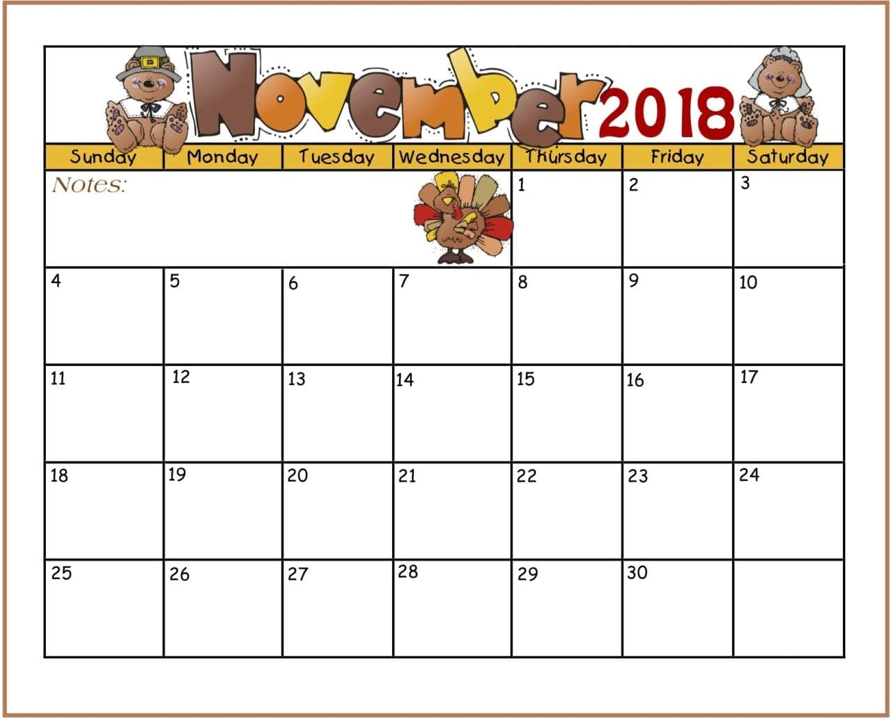 November is a month that loaded with lots of opportunities for celebrating almost anything that interests your family. Find printable calendar 2018 with excel format and PDF format.