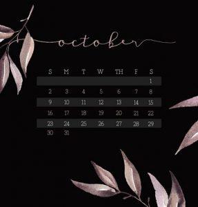 October 2018 Calendar Pdf Printable Template