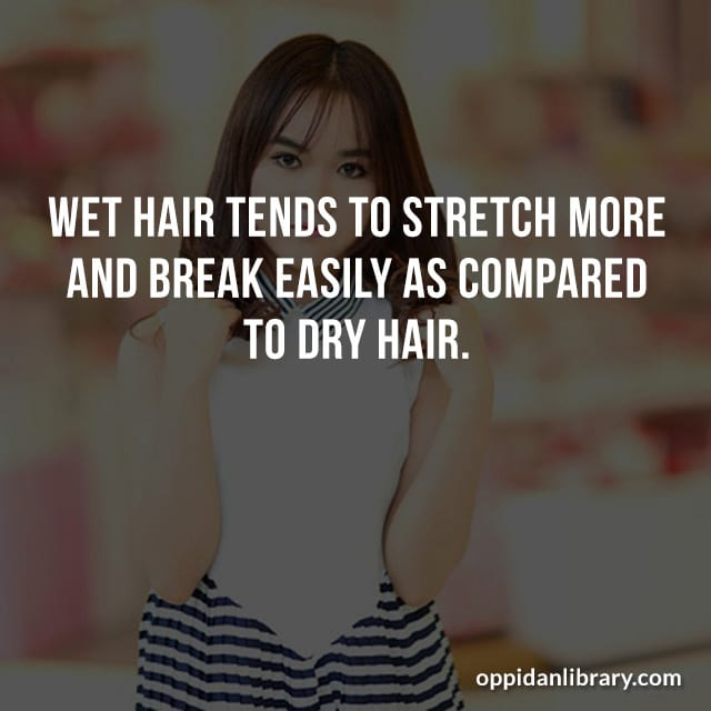 WET HAIR TENDS TO STRETCH MORE AND BREAK EASILY AS COMPARED TO DRY HAIR.