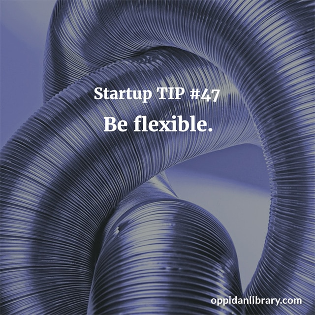 STARTUP TIP #47 BE FLEXIBLE.