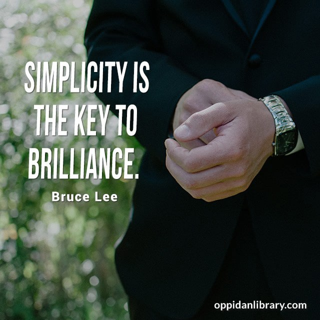 """Entrepreneur Tips : Simplicity is the key to brilliance """" Bruce Lee """""""